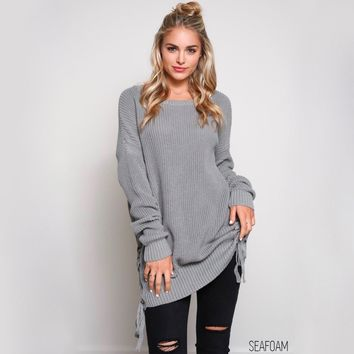 no bad days side grommet sweater - seafoam