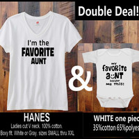 S-XXL Double Deal! I'm the Favorite Aunt White Vneck & My favorite Aunt one piece romper hand print in Baltimore Maryland