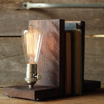 Signature Bookends Walnut- Modern Bookends, Book Accessories, Solid Walnut, Edison Bulb Lamp