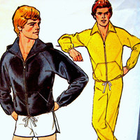1970s Vintage Mens Hoodie Jacket, Pants and Shorts Pattern size X Large 46 48