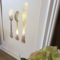 Gold Foil Dining Room Print, knife, fork and spoon, kitchen wall art, Kitchen Print, Home decor, Dinning room print, Gold kitchen decor