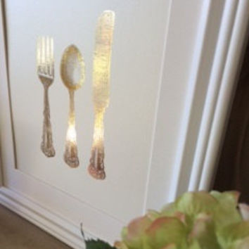 Gold Foil Dining Room Print Knife Fork And Spoon Kitchen Wall Art