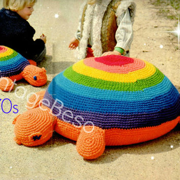 Instant Download PDF Crochet Pattern to make a Turtle Tortoise Large Pillow Floor Cushion Bean Bag Pouffe Playgroup Nursery Soft Play