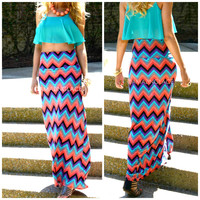 Morning Glory Multicolored Chevron Maxi Skirt