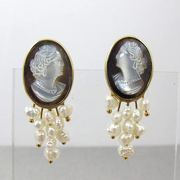 14K Yellow Gold Cameo Earrings, Carved Mother Of Pearl Cameo. Freshwater Pearl Waterfall Studs, Pearl Bridal Wedding Cameo Jewelry