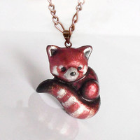 Red panda polymer clay brooch or pendant, cute fire fox necklace, kawaii jewelry