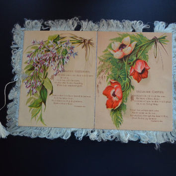 1800s Victorian Easter Card with Fringe and Floral