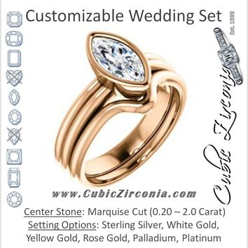 CZ Wedding Set, featuring The Stacie engagement ring (Customizable Bezel-set Marquise Cut Solitaire with Grooved Band)