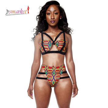 African Print Swimsuit Women 2016 African Print Inspired Bikini Set women strappy Bathing Suit ethic print African Swimwear XL