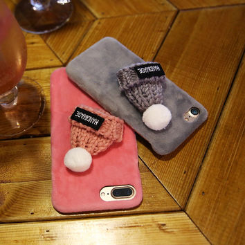 Fashion Knitted Hat Case For iPhone 7 Korean Style Cap Shell Plush Furry Hard Phone Cases Shockproof Back Cover For iPhone 7