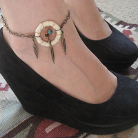 Dream Catcher Anklet White Dreamcatcher Feather by Azeetadesigns