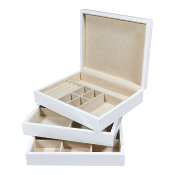 White Lacquered Multi Level Stackable Wood Jewelry Box And Optional Add-on Tray