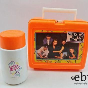CREYUG7 Vintage 90s New Kids on the Block Lunchbox + Thermos NKOTB Lunchbox NKOTB Thermos 90s