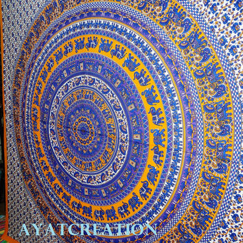 Indigo Elephant Mandala Tapestry,Hippie Tapestry,Indian Cotton Bedspread Bed sheet Bohemian Wall Hanging Tapestry, Queen Mandala