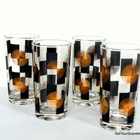 Mid Century Atomic Black & Gold Starburst Block Highball Glass Barware 4 Piece Set