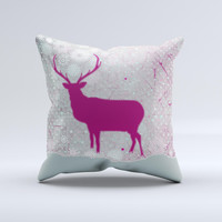 Pink Stitched Deer Collage ink-Fuzed Decorative Throw Pillow