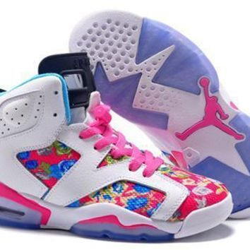 Hot Air Jordan 6 Retro Women Shoes Colorful White Pink