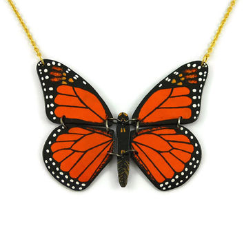 Orange and black monarch butterfly necklace, plastic butterfly fancy necklace, handmade monarch butterfly necklace made with recycled CD