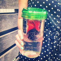 Ball MASON JAR Fruit Infuser with Jar - One Glass - 24oz Mason Jar with Ball Lid - Colored Glass or Clear