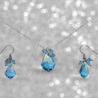Aquamarine Necklace Earring Set Swarovski Baroque Bridesmaid / Prom / Aquamarine March Birthstone Birthday / Wedding / Bridal