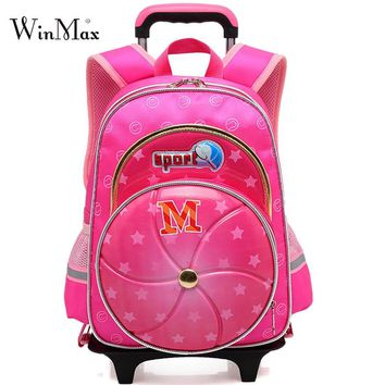 Trolley Children School Bags Kids Backpack With Wheel Reflective Luggage For Boys Girls Backpacks Wheeled Bag Rolling Schoolbag