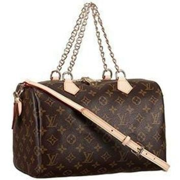 PEAPYD9 Louis Vuitton Monogram Speedy 30 Bag With Chain Shoulder Strap