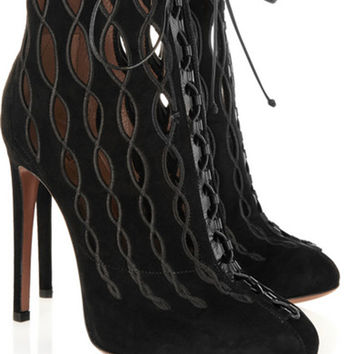 Bootylicious Embroidered Laser-cut Suede Ankle boots