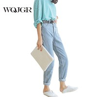 WQJGR High Waist Jeans 2017 Autumn Waisted Baggy Jeans Woman High Quality Boyfriend Jeans For Women