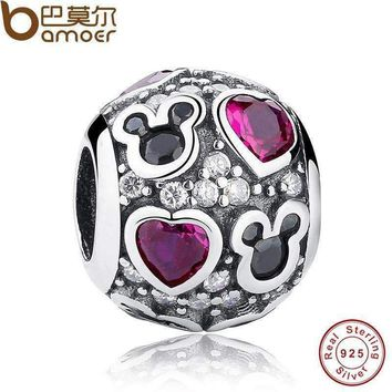 New Baby Gift Charms Fit Original Bracelet Necklace 925-Sterling-Silver Mouse Dark Purple Heart Bead Jewelry Making PAS129