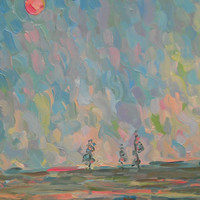 Nature Evening Original Oil Painting Landscape Field Spring Picture Soft Pastel colors Interior Wall Decor Abstract Sky Study Plein Air