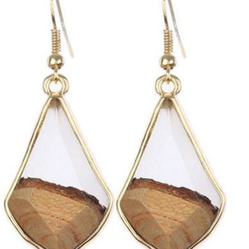 Marbled Two Tone Diamond Earrings - 3 Colors