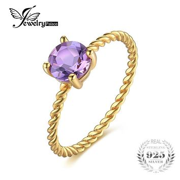 JewelryPalace Birthstone 0.78ct Round Natural Amethyst Wedding Ring For Women 925 Sterling Silver Brand Classic Fine Jewelry