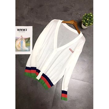 GUCCI 2019 new women's color contrast stitching V-neck knit cardigan white