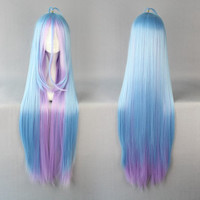 40 inches Long no game no life Shiro Anime Ombre Cosplay Wig
