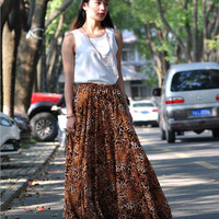 High Waist Leopard Long Floral Skirts Chiffon Elastic Waist Summer Skirt Custom Made (173)