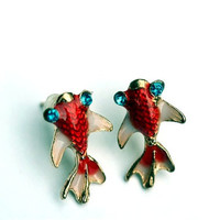 Koi Stud Earrings Japanese Koi Jewelry Gift for Koi Fish Collector Japan Goldfish Pond