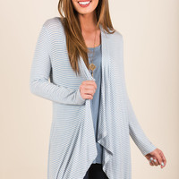 Striped To It Cardigan, Sky Blue