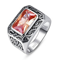 Vintage 925 Sterling Silver Jewelry 6.75Ct Morganite Antique Square Ring For Men