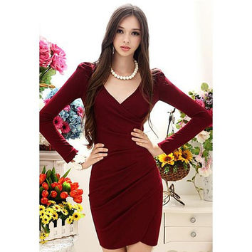Wine Red V-Neck Long Sleeve Dress