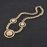 Gold Plated GP Metal Chain Statment Necklace Chunky Choker 3 Lion Heads Pendants