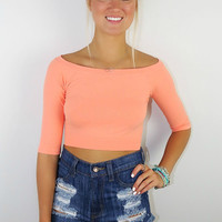 Show Some Appreciation Stretchy Quarter Sleeve Basic Coral Peach Crop Top