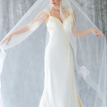 Cathedral Veil with Wide Sheer Ribbon Edge & Lace Appliques