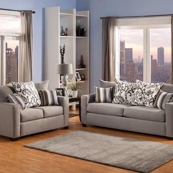2 pc Rain collection pewter colored fabric upholstered sofa and loveseat set with squared arms