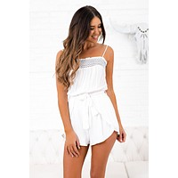 Lake Views Belted Romper (Off White/Navy)