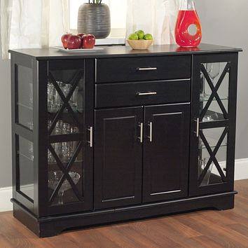 Black Wood Buffet Dining-room Sideboard with Glass Doors