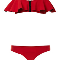 Lauren Flounce Bonded Neoprene Bikini by Lisa Marie Fernandez Now Available on Moda Operandi