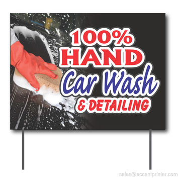 "100% Hand Car Wash & Detailing Curbside Sign, 24""w x 18""h, Full Color Double Sided"