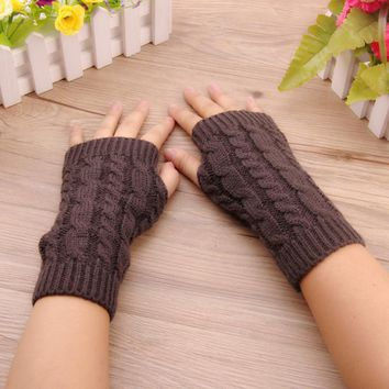 Fashion women Stylish hand warmer winter gloves Femal Arm Crochet Knitting faux Wool Fingerless Gloves