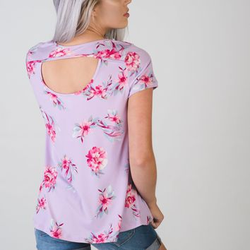 Lilac Floral Top with Cut Out Back