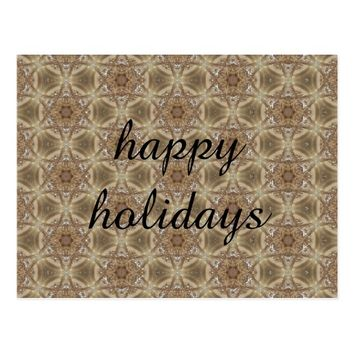 happy holidays on golden backround postcard